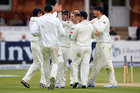 Kane Williamson celebrates the wicket of Jonathan Trott during day three of 1st Investec Test match between England and New Zealand at Lord's.Photo / Getty