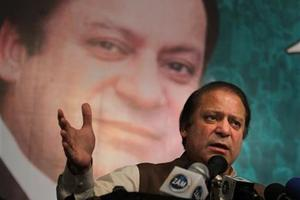 Pakistan's former Prime Minister Nawaz Sharif addresses party workers in Lahore, Pakistan. Photo / AP