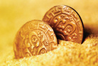 Copper coins and a 70-year-old map with an