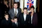 David and Victoria Beckham with three of their children, (L-R) Romeo, Cruz and Brooklyn.Photo / AP