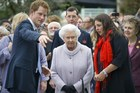 Britain's Queen Elizabeth II visits Prince Harry's the Forget-me-not garden, at the the Chelsea Flower Show.Photo / AFP