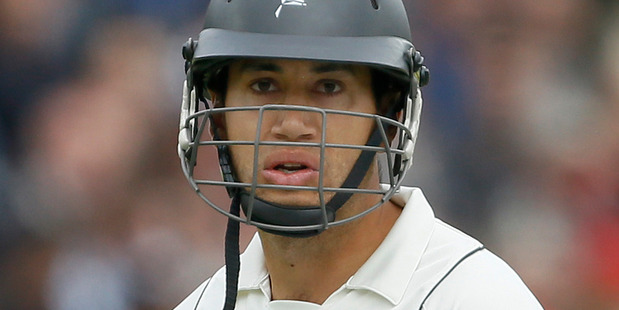 New Zealand's Ross Taylor leaves the pitch after being bowled LBW by England's Stuart Broad in the second innings of the first test  at Lord's in London. Photo / AP