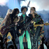 Prince, center, performs at the Billboard Music Awards. Photo / AP