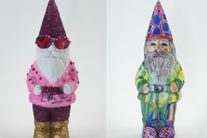 Garden gnomes decorated by, from left, Elton John, Joanna Lumley and Lilly Allen. Photo / Supplied