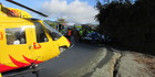 The scene of the rally accident. Photo / Nelson Marlborough Rescue helicopter 