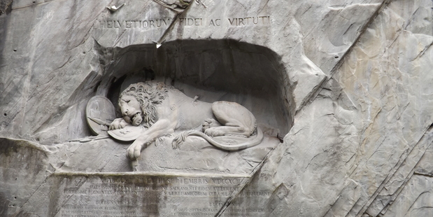 The Lion Monument in Lucerne. Photo / Matt Shallcrass