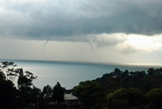 Waterspouts were seen over Manukau Harbour this afternoon. Photo / Sam Thomas