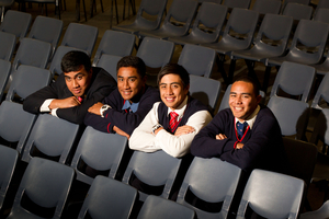 Samson Fualalo, left,  with Roman Prasad, Zion Ioka and Joeveni Leota - says lifting his results started with an attitude change. Photo / Richard Robinson