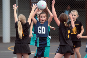 The concentration is clear on the faces of these year 3 players as Kohia Terrace take onMaungawhau at Auckland's Windmill Rd netball courts. Photo / Doug Sherring