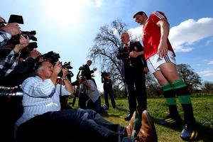 Lions coach and Waikato boy Warren Gatland (left) meets the press. Photo / Getty Images