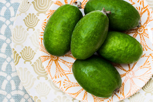 It is the season for delicious feijoas. Photo / Babiche Martens