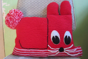 Craft Vintage Knitted Rabbit Cushion. Photo / Supplied