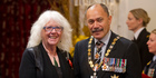 Fleur Sullivan with the Governor General, Sir Jerry Mateparae, after receiving the Insignia of a Companion of the NZ Order of Merit, at the investiture ceremony in Wellington. Photo / Mark Mitchell