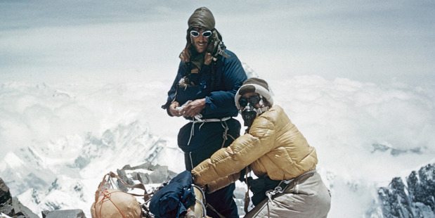 Lowe's shot of Hillary and Tenzing high on the southeast ridge of Everest. Photo / The George Lowe Collection