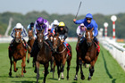 Encke (rails) prevents Camelot (2nd left) from completing the Triple Crown by winning the St Leger, a victory now under scrutiny. Photo / Getty Images