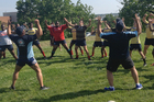 Schoolboy rugby players in Washington DC respond enthusiastically to the New Zealanders' coaching. Photo / Supplied