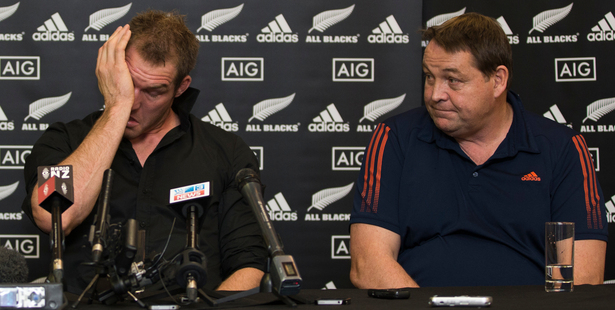 All Black and Blues Captain Ali Williams cries during his announcement with All Black Coach Steve Hansen that he will retire from the All Black Team. Photo / Greg Bowker