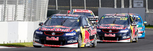 Jamie Whincup negotiates Pukekohe in April, beneath the concrete barriers that irk some longtime fans. Photo / GETTY IMAGES