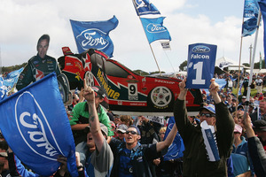 Aussie Ford fans celebrate a win in the V8 Supercar Championships. Photo / Getty Images