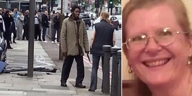 This snapshot on Twitter shows a suspect holding a knife and speaking to Ingrid Loyau-Kennett. Photo / Supplied