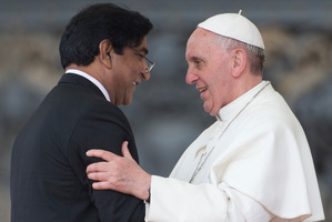 Pope Francis embraces Paul Bhatti, brother of the assassinated member of the Pakistani National Assembly Shahbaz Bhatt.Photo / AP