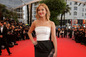 The promotion of The Hunger Games sequel at Cannes by Jennifer Lawrence and her co-stars has been hampered by heavy rain.  Photo / AP