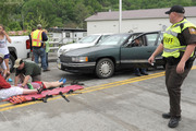 Emergency personnel respond to an accident at the Trail Days festival.Photo / AP