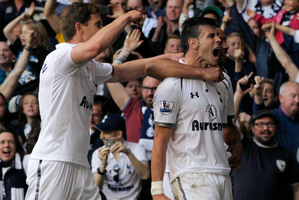 Gareth Bale celebrates his goal against Sunderland yesterday. Photo / AP