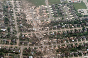 The storm laid waste to scores of buildings in Moore, a community of 41,000 people about 16km south of Oklahoma City.  Photo / AP