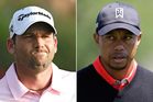 Sergio Garcia (L) and Tiger Woods (R). Photo / AP