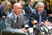 Former Solid Energy boss Don Elder (left) and chairman John Palmer during their appearance before the commerce select committee at Parliament in March. Photo / Mark Mitchell