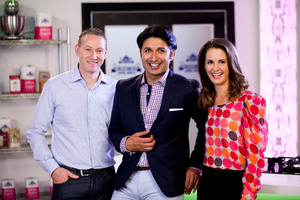 New Zealand's Hottest Home Baker's Dean Brettschneider, Colin Mathura-Jeffree and Julia Crownshaw. Photo / Supplied