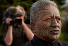 Tame Iti makes his way from his marae to speak to media in Ruatoki in the Eastern Bay of Plenty. Photo / NZ Herald