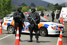 A police roadblock in action in the Ruatoki Valley, near Whakatane, during the police raids. File photo / Alan Gibson