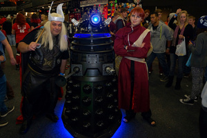 From left: William Butler (Thor), a Dalek, and Willie Fosrie (Gaara). Photo / Supplied