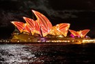 The Sydney Opera House is lit up on the opening night of Sydney Vivid. Photo / Vivid Festival/Supplied