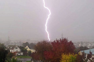 A lightning strike in Otara yesterday. Photo / Basileia Tapu
