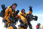 Climbers Dean Staples (left), of Lake Hawea, and Mark Woodward, of Queenstown, celebrating a joint fifth ascent of Mt Everest from the summit in 2007. Photo / Supplied