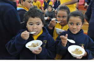 Kids at the Otara Big Breakfast - a Mana Party event in support of the 'Feed the Kids' Bill. Photo / Sophie Barclay
