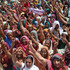 Health workers of Gujarat state, locally known as 'Link Workers' shout slogans during a protest in Ahmadabad, India. Photo / AP