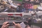 The largest ever LEGO model a 42-foot long 'Star Wars' X-wing is unveiled in Times Square.