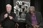 A screenshot of Morgan Freeman asleep on live TV.
