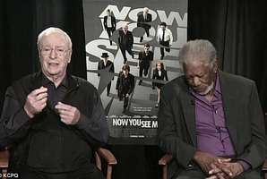 A screenshot of Morgan Freeman asleep on live TV.