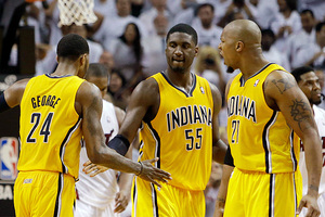 Paul George, left, Roy Hibbert and David West of the Indiana Pacers. Photo/AP