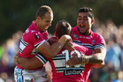 Ben Ross of the Sharks celebrates with Jeff Robson (left) and Andrew Fifita (right) of the Sharks after scoring a try during the round 10 NRL match against the Cronulla Sharks. Photo / Getty Images