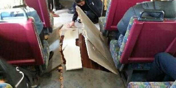 The interior of the train was damaged in the derailment. Photo / Twitter / @Yakcall