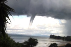 Water spouts seen in the Big Bay, Awhitu Peninsula area. Photo / Vanessa McDonald