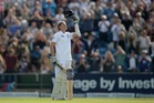England's Joe Root celebrates reaching his first  century on home soil at Headingley. Photo / Getty Images