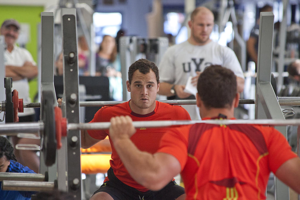 Israel Dagg's all concentration at the squat.