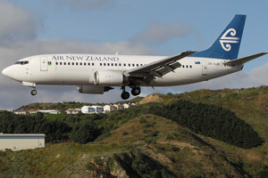 An Air New Zealand Boeing 737 lands at Wellington Airport. A planned runway extension will make long-haul services viable. Photo / File photo